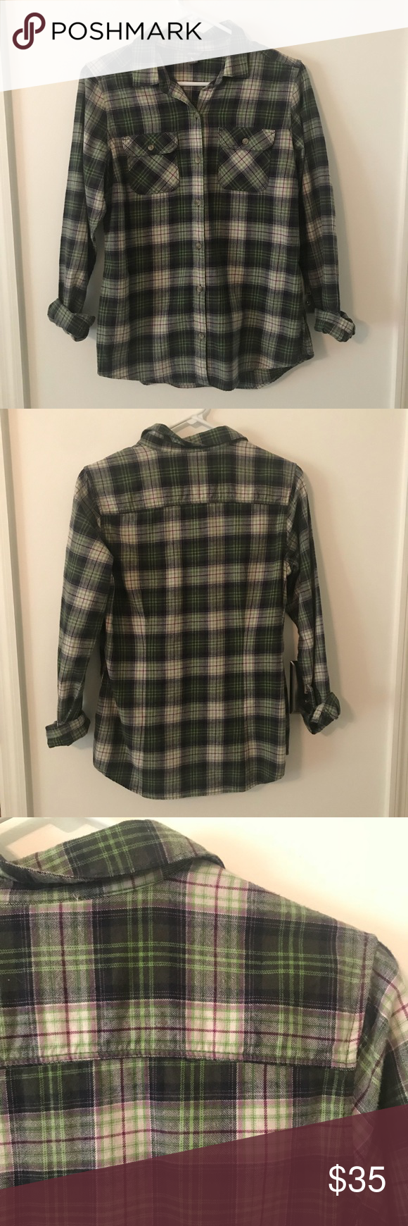 Retro flannel shirts  NWOT Eddie Bauer Flannel Shirt  My Posh Picks  Pinterest  Flannel