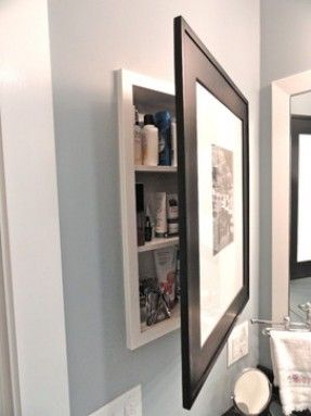 Tight Space Bathrooms   Hanging Mirror Over Sink, Medicine Cabinet Hidden  Behind Picture. Love