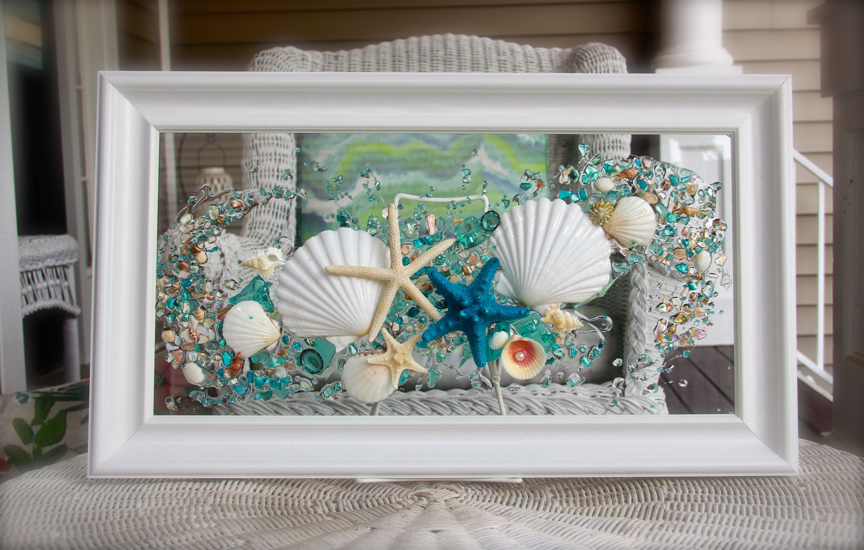 Seashellart Beach Decor Seashell Wallart Nautical Bathroom Turquoiseart Beachhomedecor Wallhangin Seashell Wall Art Sea Glass Art Glass Window Art