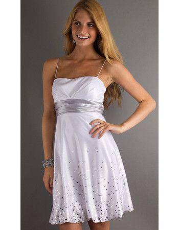 casual dress white with navy sash | 2012 Short White Graduation ...