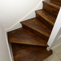 Stair Treads : Awesome Basement L Shaped Stair Design With Oak Treads .