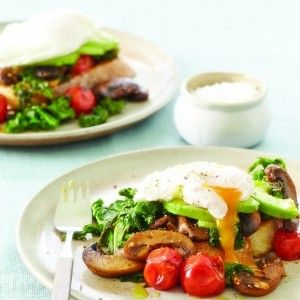 Mushroom, Tomato, Avocado and Poached Egg on Toast. For the full recipe, click the picture or see RedOnline.co.uk