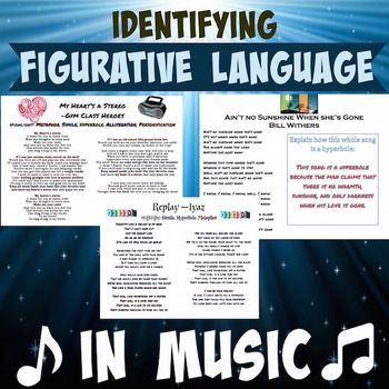 Figurative Language In Popular Songs With Answer Key Language