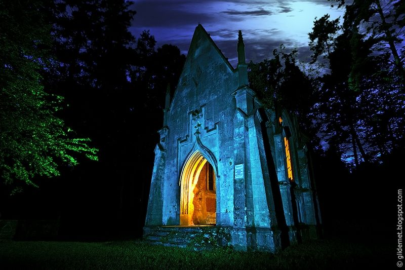 A church, lit up at night by Sergey Shvaiko.  It is a great shot-