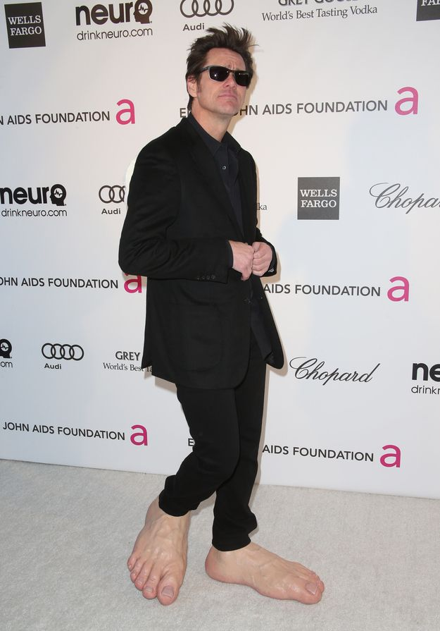 Jim Carrey Wore Gigantic Plastic Bare Feet To An Event Last Night