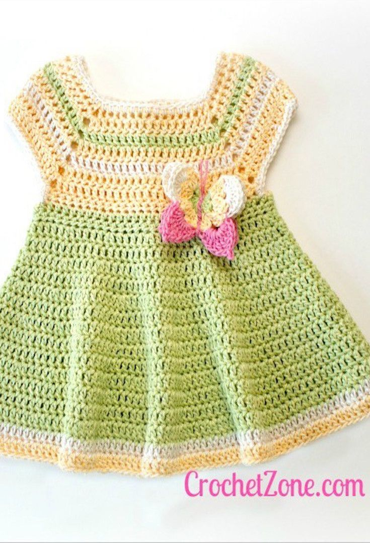 Free Crochet Pattern] This Little Dress With The Butterfly Applique ...