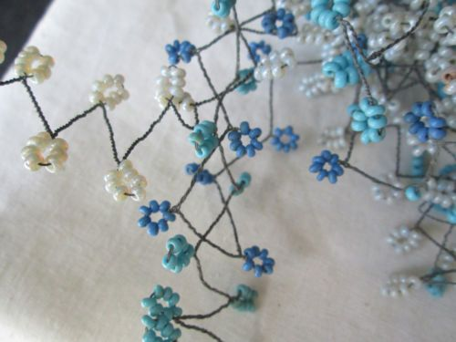 2 Bu Vintage//Antique Blackish Gr//White Stamens 36 Double Stems Hat Flower UNUSED