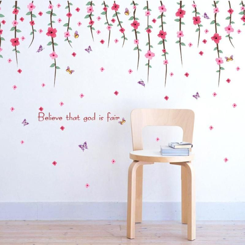 Plum Branches Butterfly Wall Sticker For Kids Rooms Wall Decorations Living  Room Mural Stickers Home Decor
