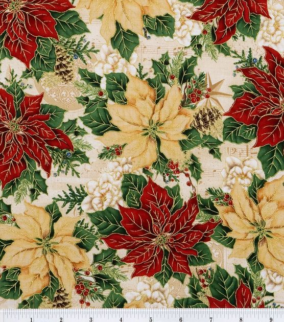 Holiday Inspirations Fabric-Poinsettias And Music & Holiday Fabric at Joann.com