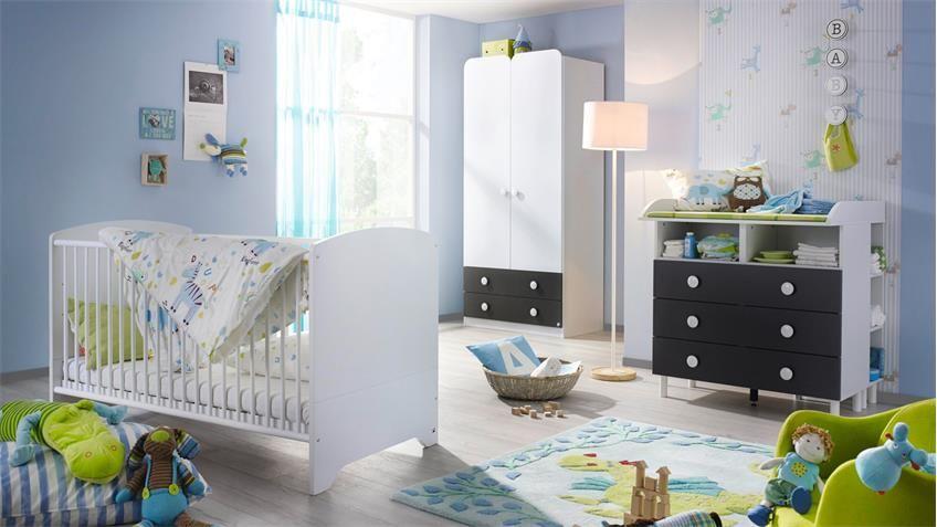 Babyzimmer FILIPO Kinderzimmer Komplett Set weiß grau