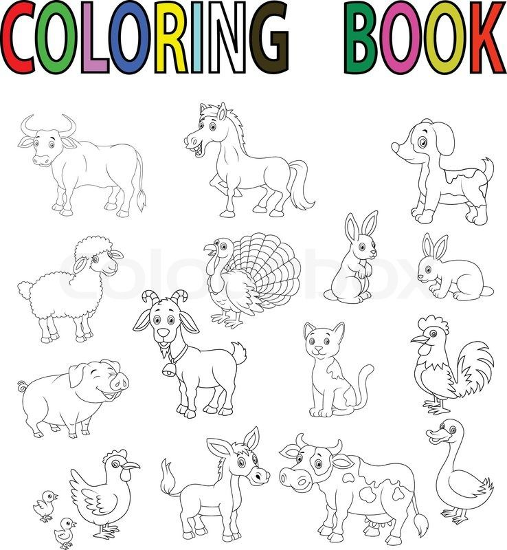 Buy The Royalty Free Stock Vector Image Illustration Of Farm Animal Cartoon Coloring Book Online All Rights Included High Resolution