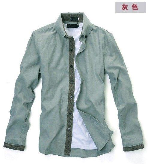 Men Vogue Long Sleeve V-Neck Contract Color Grey Cotton Dress Shirt M/L/XL @SJ68411g