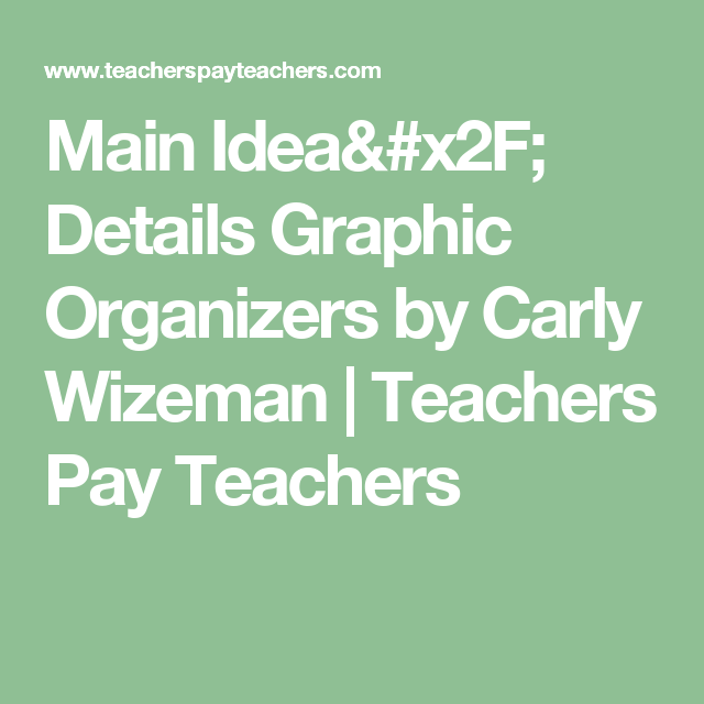Main Idea/ Details Graphic Organizers by Carly Wizeman | Teachers Pay Teachers