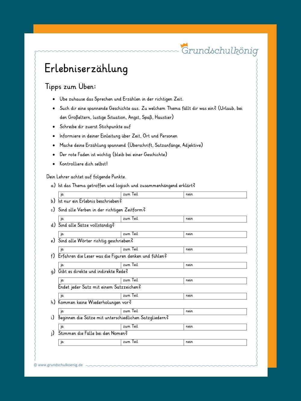 Erlebniserzählung   Erlebniserzählung, Aufsatz schreiben, Deutsch ...