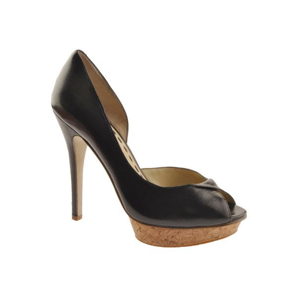 Women's Enzo Angiolini Cerick - Black Leather Dress ($33) ❤ liked on Polyvore featuring shoes, pumps, black, open toe shoes, open-toe pumps, enzo angiolini pumps, leather shoes and black court shoes
