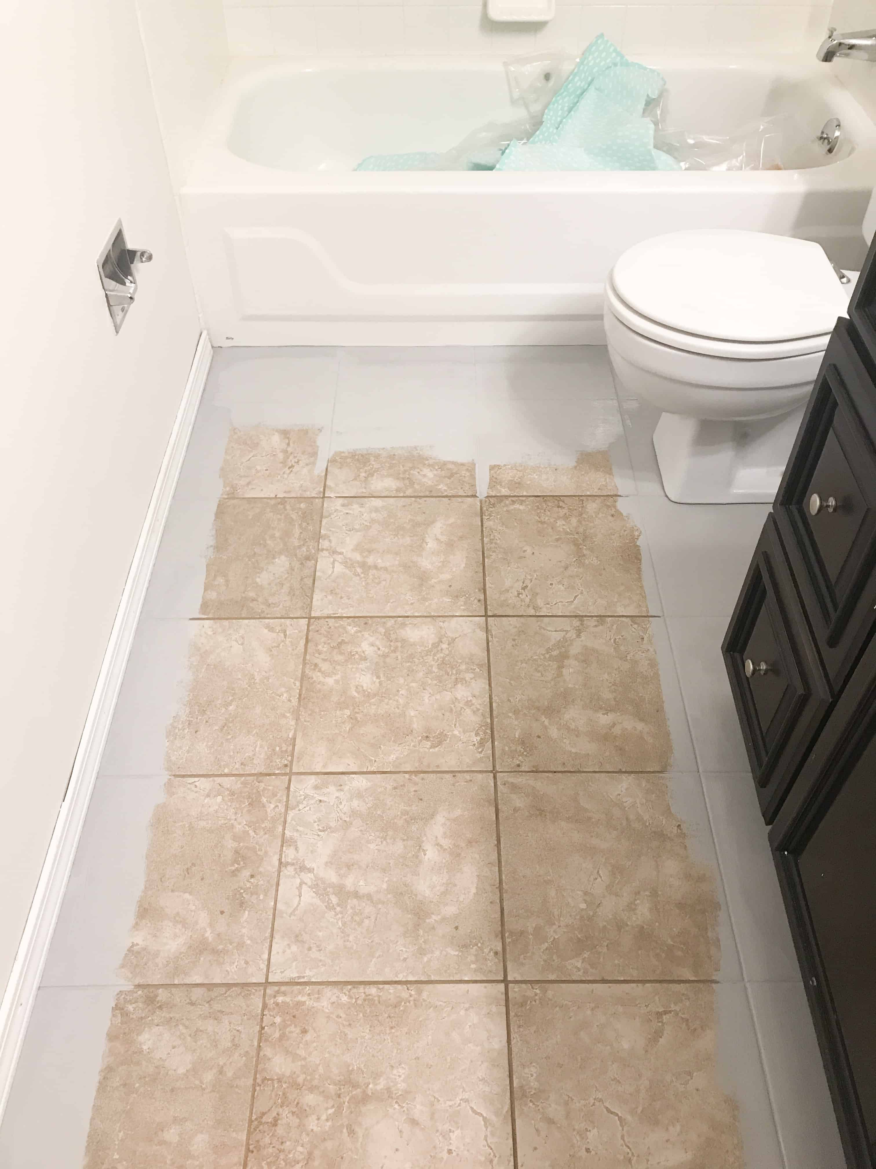 How To Paint Tile Floors Painting Bathroom Tiles Painting Tile