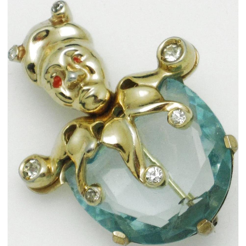 86942bb46 Vintage 1940s MAZER Aqua Glass JESTER Figural Brooch Pin   BRING ON ...