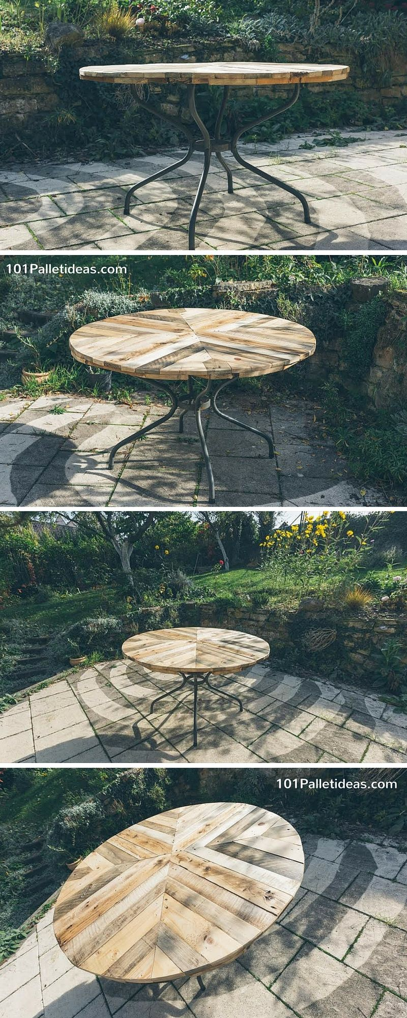 Decoracion Con Palets Redonda Round Top Table Made Of Pallets Diy 101 Pallet Ideas