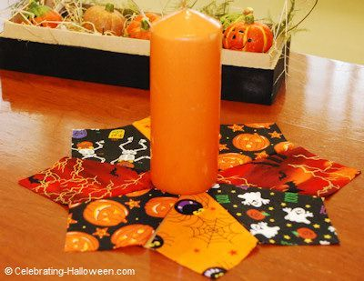 No-sew Halloween candle mat.
