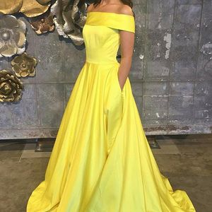 702365773 A-Line Off-the-Shoulder Swewep Train Yellow Satin Sleeveless Prom ...