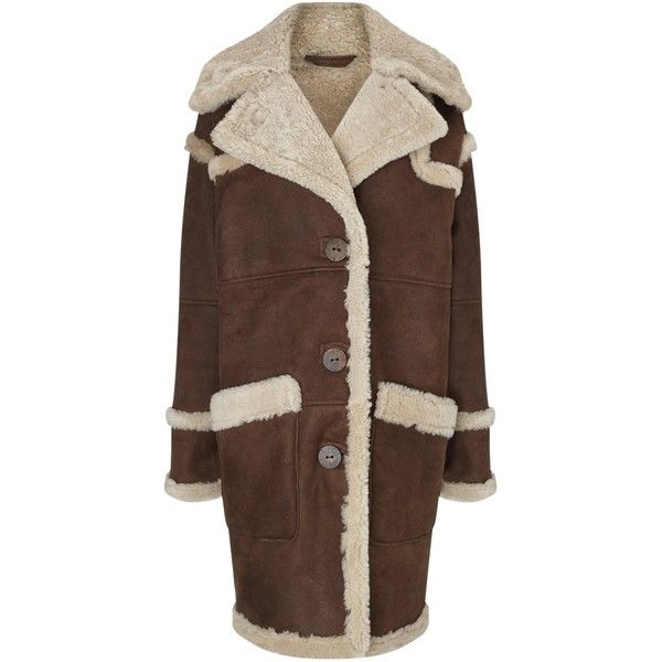 Dlux Chocolate Brown Sheepskin Car Coat (€1.665) ❤ liked on ...