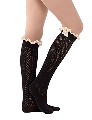 Dimore Over the Knee Antique Crochet Cable Lace and Button Thigh Thin High Boot Socks with Lace Trim Black - For model,our thigh high socks are long enough, please refer to the following parameters of model, make sure they are right for you and you won't regret to own them.Womens Thigh High Socks Over the Knee High Leg Wamers Girls Winter Warm Crochet SocksBeautiful intricate cable knit pattern from foo...