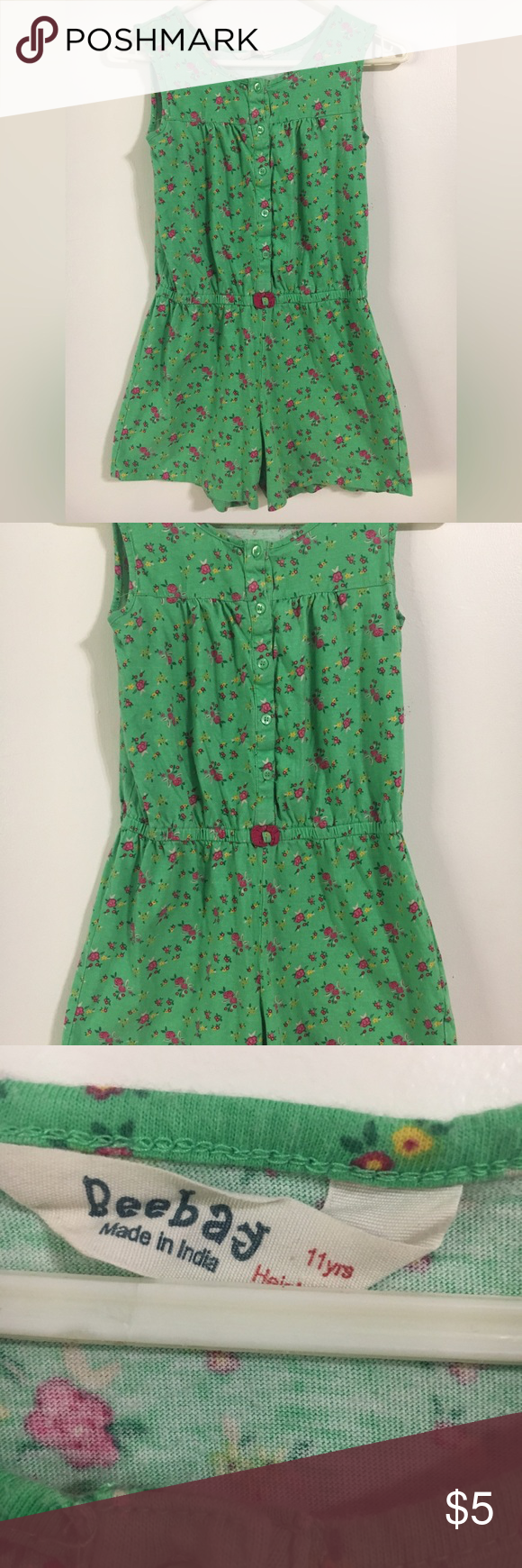 Girls Romper Green with Floral Print Beebay brand Girls
