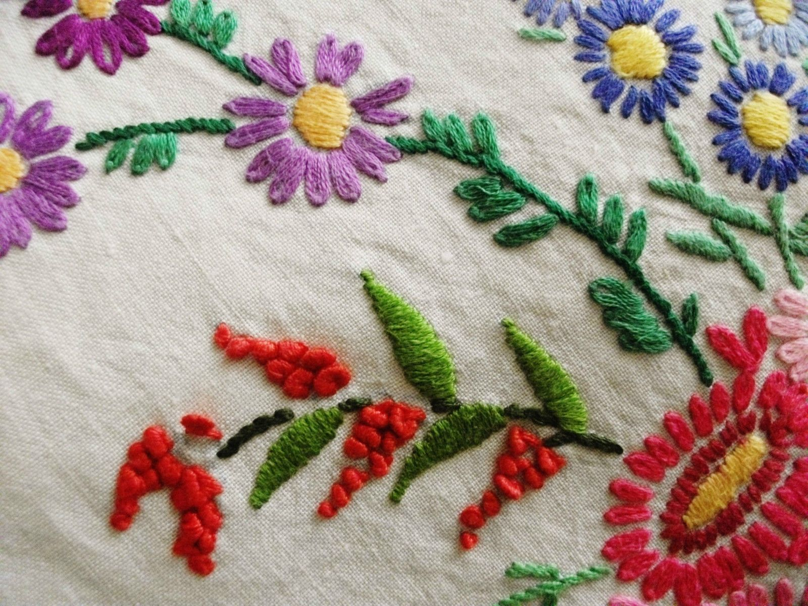 Vintage hand embroidered linen