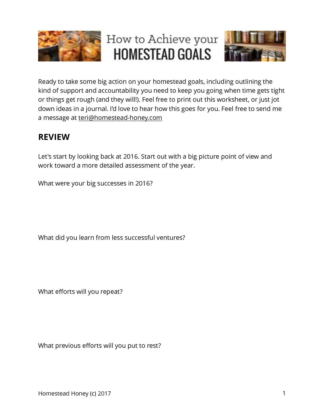 How To Achieve Your Homesteading Goals  Free Worksheets