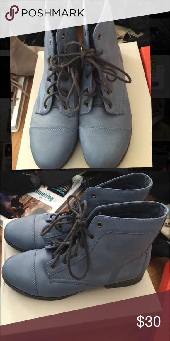 Blue lace up booties Blue lace up flat booties worn once in perfect condition forever21 Forever 21 Shoes Ankle Boots & Booties