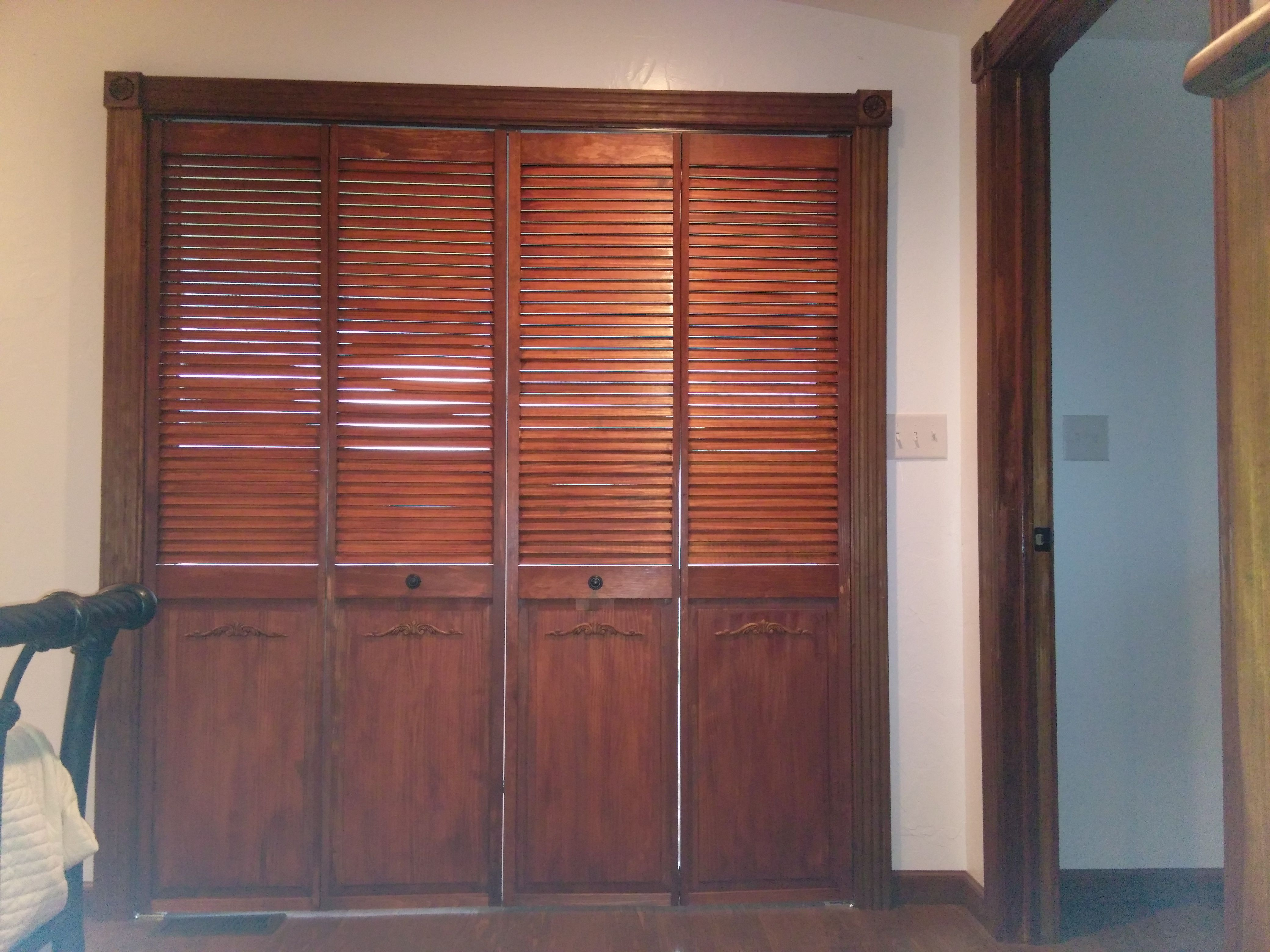 Bi Fold Louvered Closet Doors Handstained And Installed Over Sliding