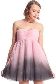 ROMWE Black Gradient Print Pink Bandeau Dress #RomwePartyDress