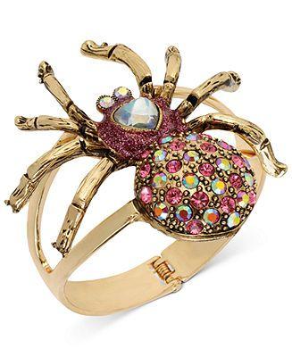 Betsey Johnson Bracelet Antique Gold Tone Spider Hinged Bangle