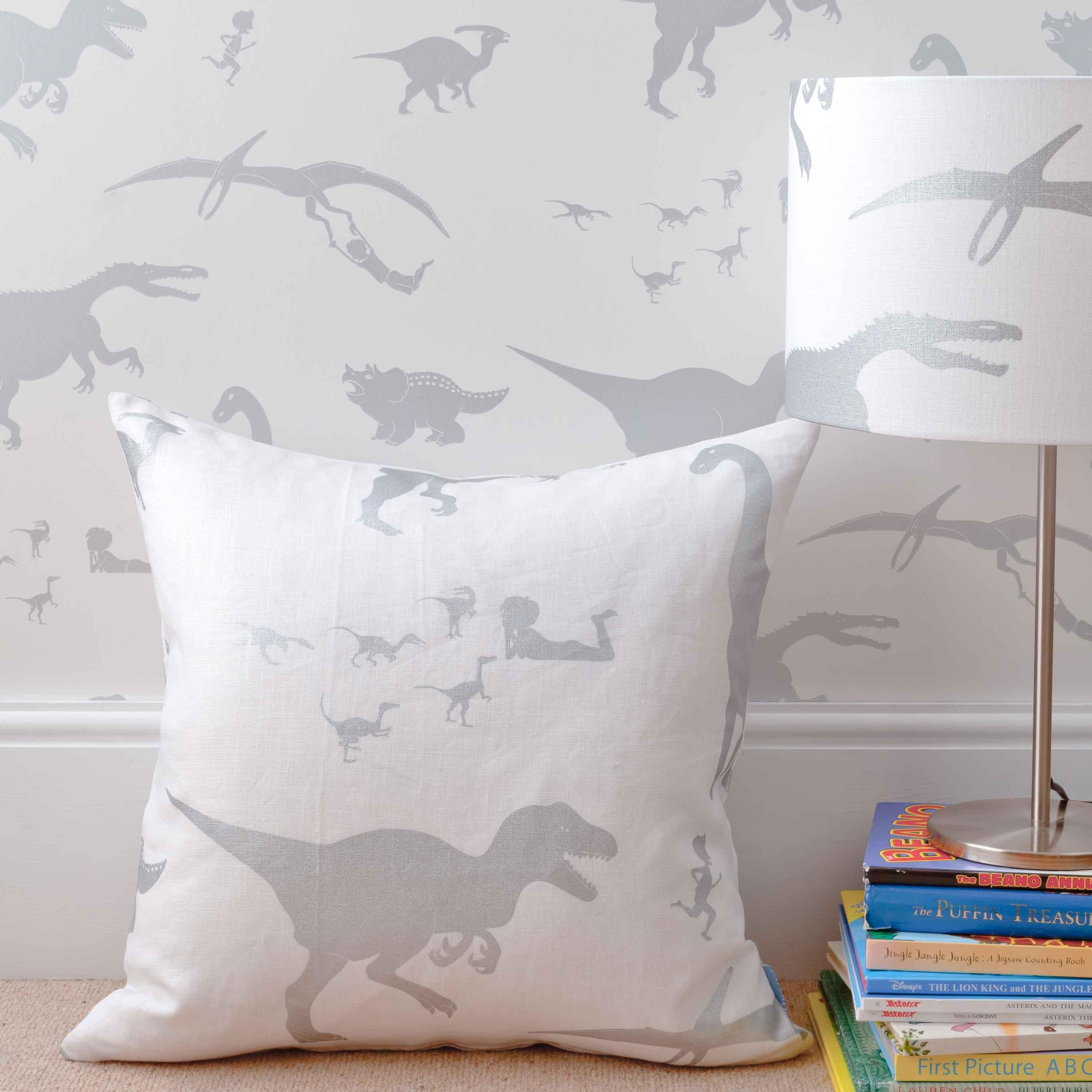 Silver Bedroom Accessories Dya Think E Saurus White Silver Childrens Dinosaur Fabric And