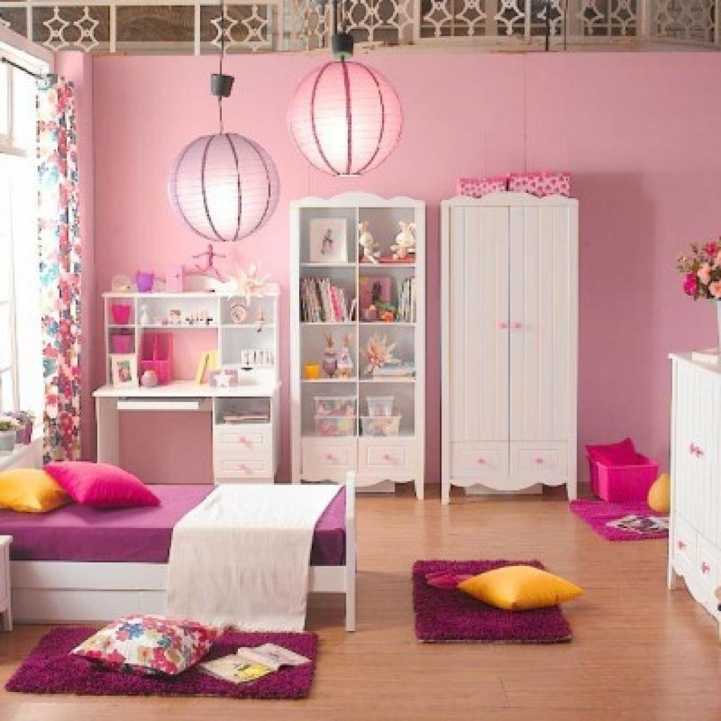 Round Pendant Lamp Pink Wall Color Paint Kids Girls
