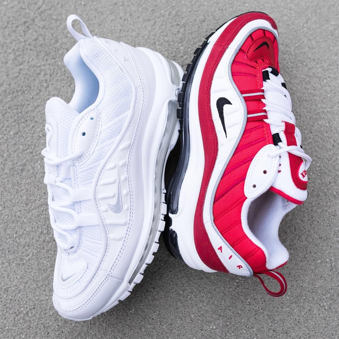 2b9e682868 Release Date : February 23, 2018 Nike Air Max 98 Pure Platinum / Gym Red  Credit : SuppaStore
