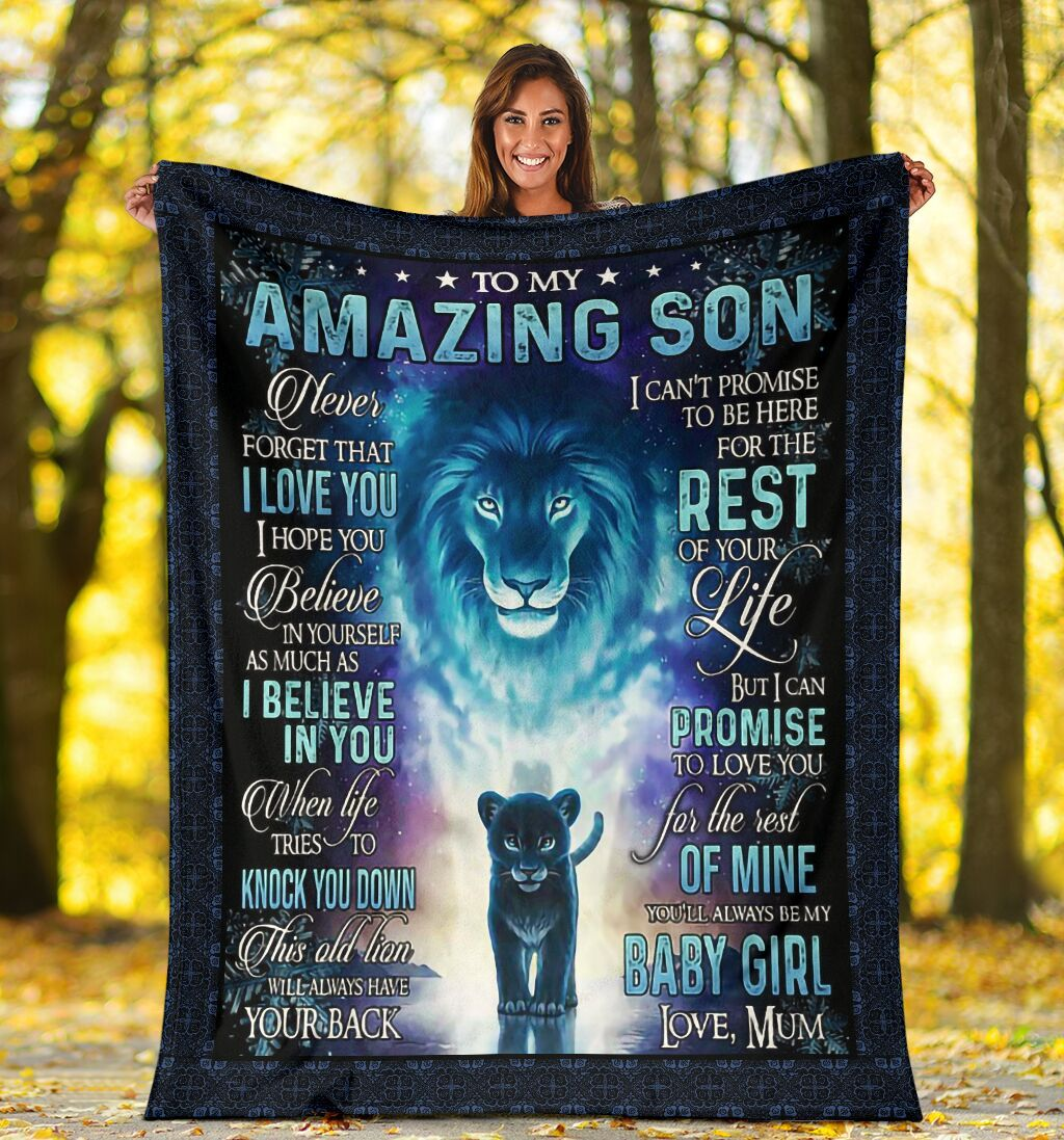 Little Lion Wears Crown Blanket Gifts For Son Birthday - Never Forget That I Love You Mums Presents Fleece Blanket Quilting for Amazing Son