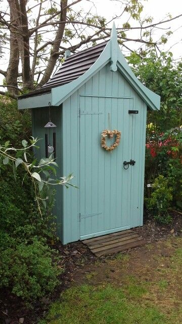 My Cottage Garden Pretty Little Corner Shed Summer House Hand Made Bespoke Painted With Cuprinol Curved Concave Wooden Roof