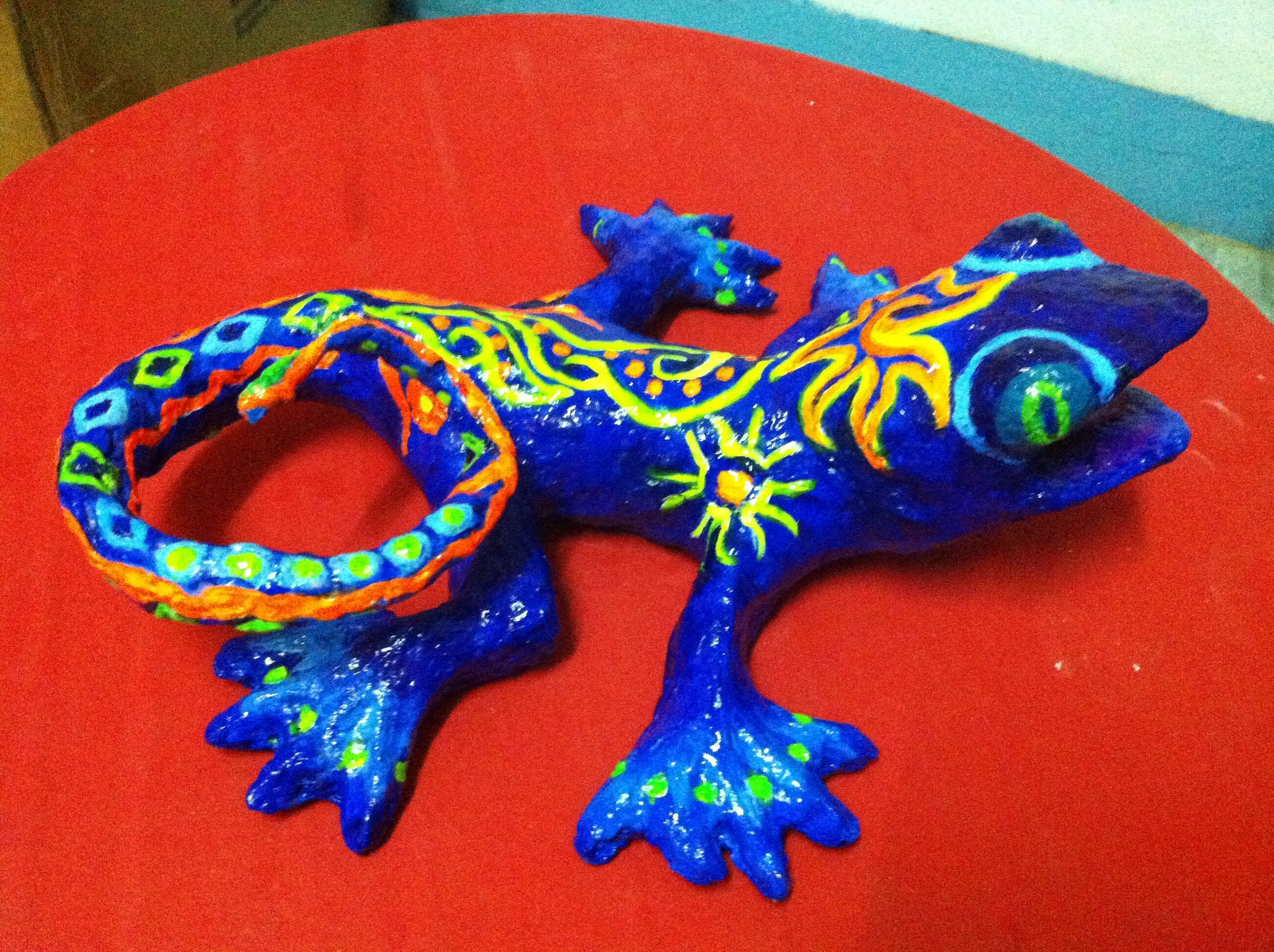 Paper mache lizard made out of recycled materials by li li for What to make out of paper mache