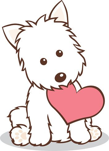 westie puppy with heart shape in mouth vector art illustration rh pinterest co uk