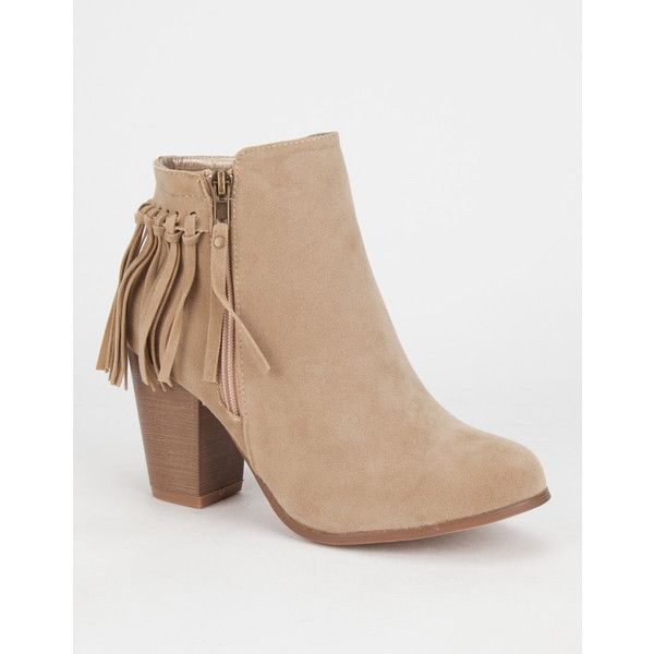 ADRIANA Juniper Womens Booties ($35) ❤ liked on Polyvore featuring shoes, boots, ankle booties, beige, beige ankle booties, zipper boots, beige booties, fringe booties and beige boots