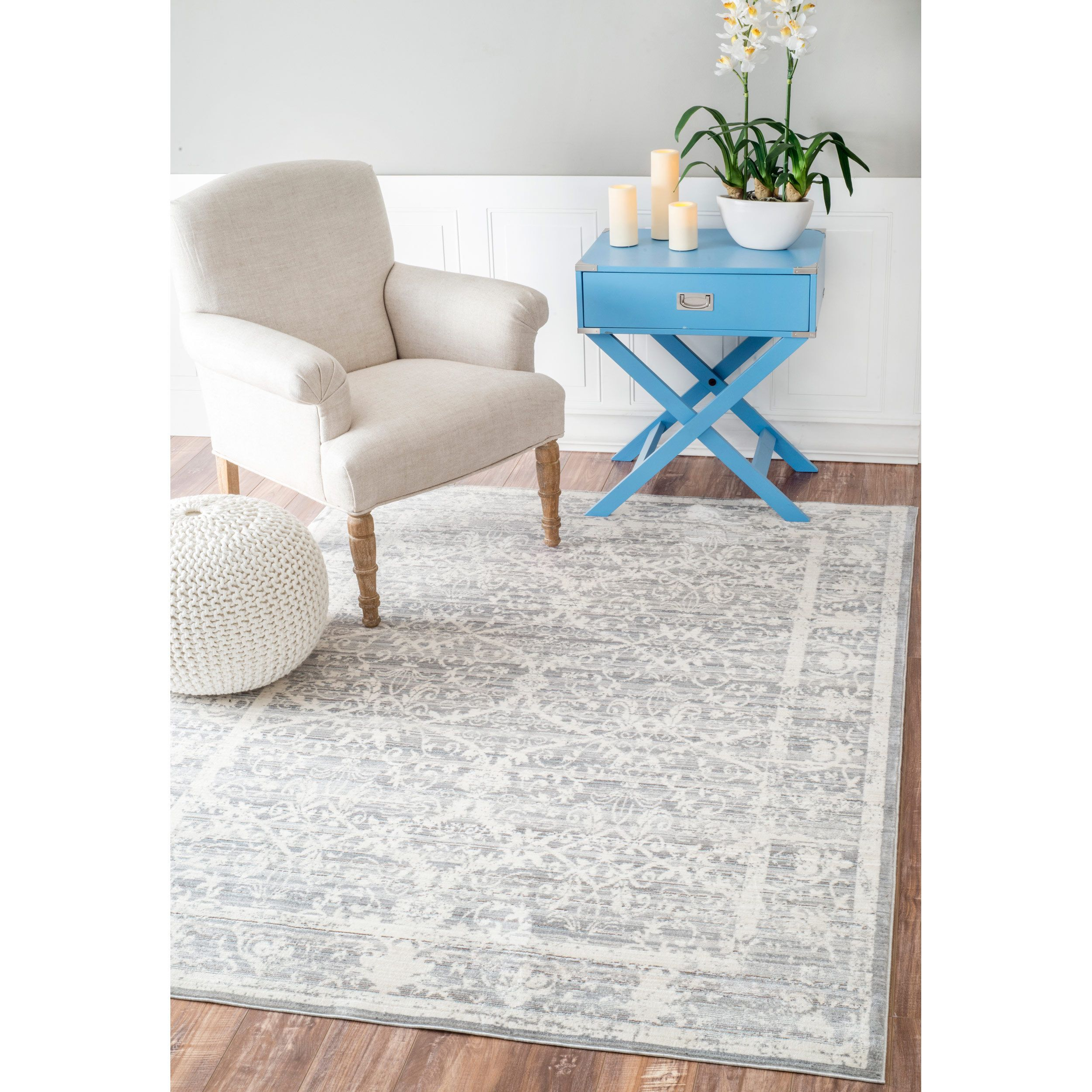 nuLOOM Traditional Vintage Flourish Grey Rug 7 10 x 10 10