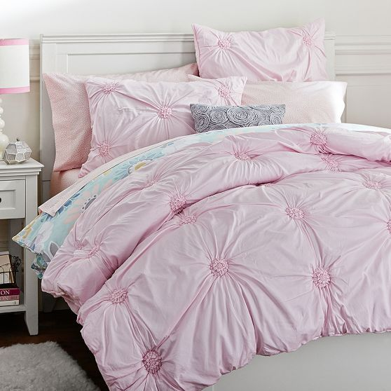 Grey Pink And Blush Comforters For 12 Year Old Girls: Ruched Rosette Quilt + Sham, Blush