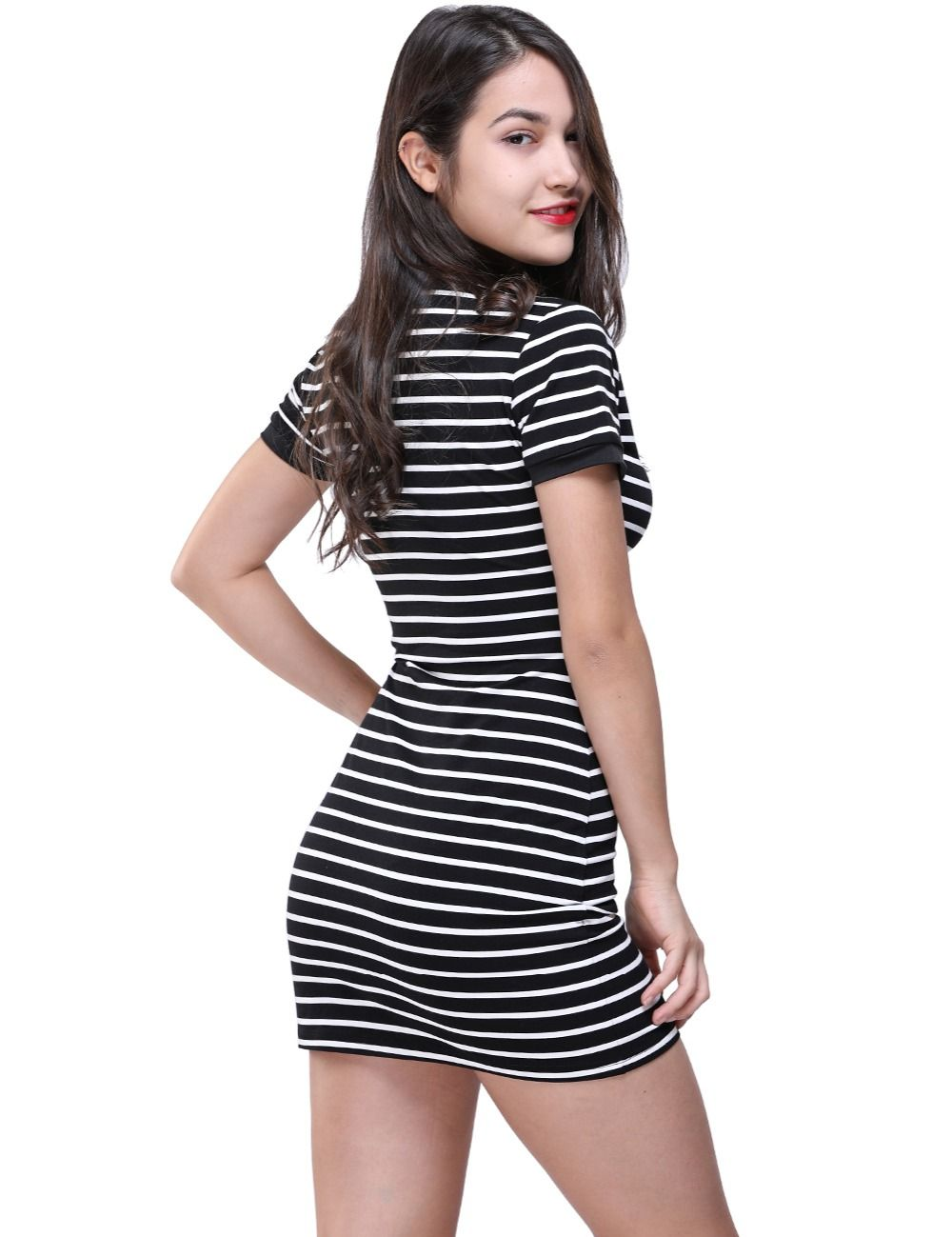 d34f889d1 Enough Stock Summer Round Neck Short-sleeved Dress Black And White Striped  Dresses Casual Elegant Sheath Slim Dress Dropshipping