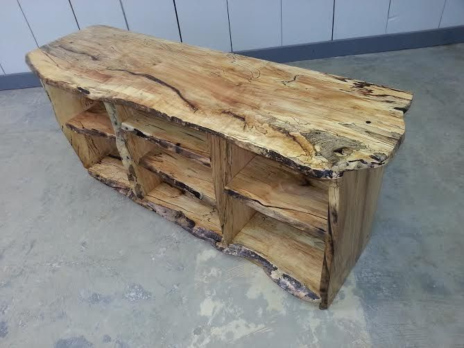 Log Furniture Tv Stand #47 - Tv Stand All Live Edge Spalted Maple