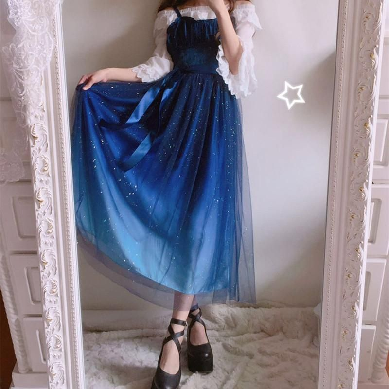fdf625f837 Free Shipping }Galaxy Blue/Black Starry Fairy Dress SP179990 | Dress ...