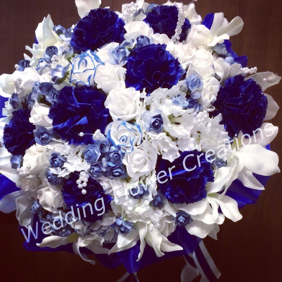 Elaborate Blue Carnations Bridal Bouquet With White Orchids And Roses Carnation Wedding Blue Carnations White Carnation Bouquet