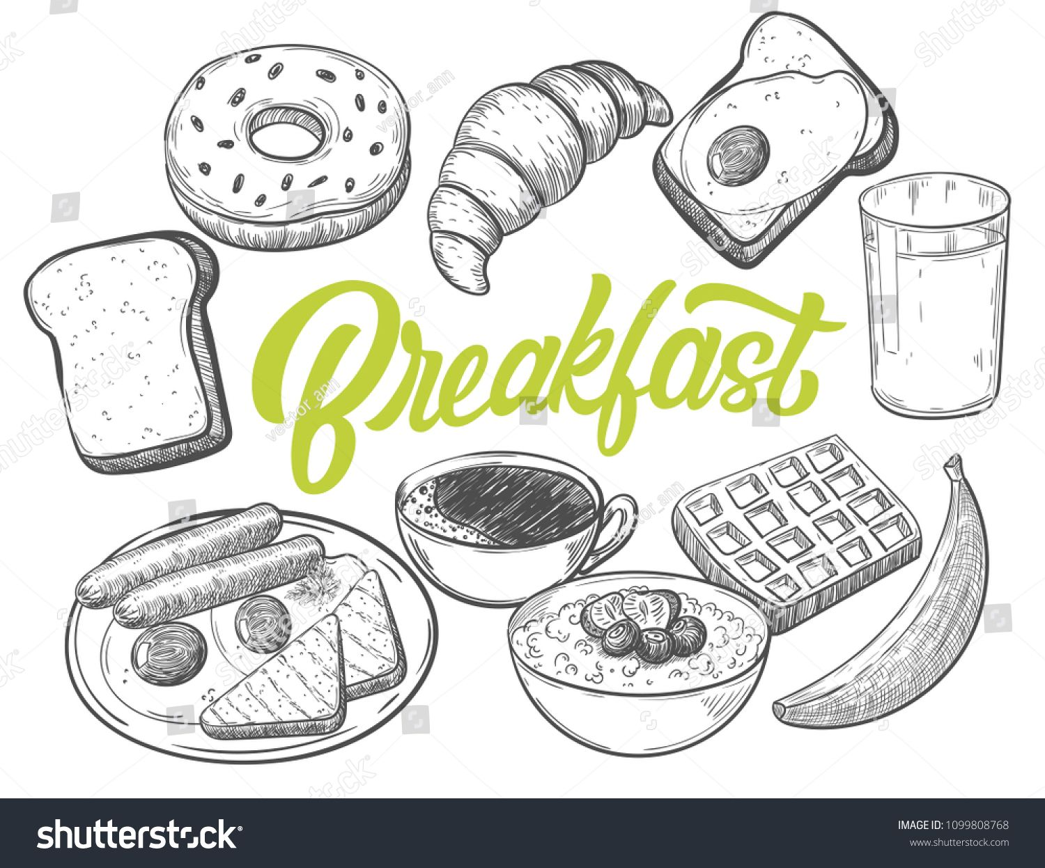 Hand Drawn Breakfast Food With Custom Lettering Black And White Draft Sketch Isolated On White Background Vintage V Lettering Ink Illustrations Cookie Vector