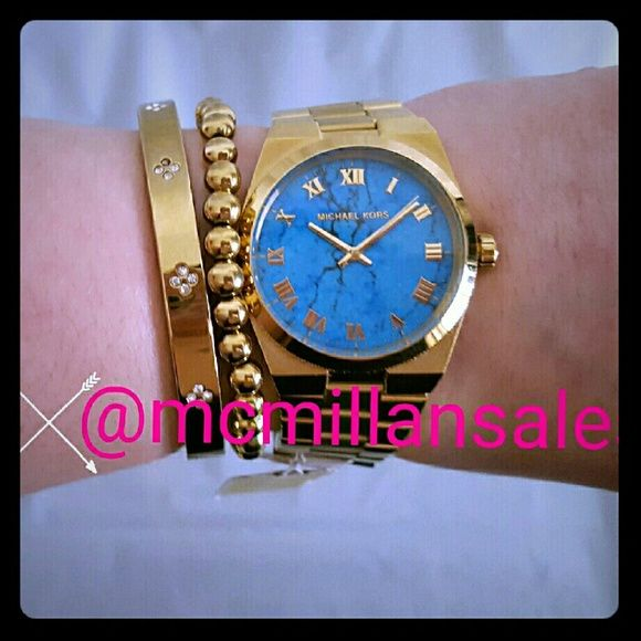 Michael Kors Turquoise and Gold Watch Brand new with tags Michael Kors watch. Super gorgeous genuine turquoise face with gold plated stainless steel band. MK5894. Michael Kors Accessories Watches