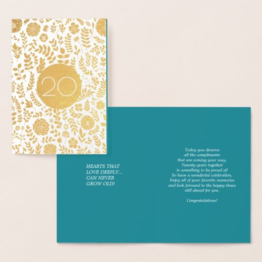 20th Anniversary Real Foil Luxury Cards | Zazzle.com #20thanniversarywedding